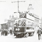 Tram approaching Victoria Bridge